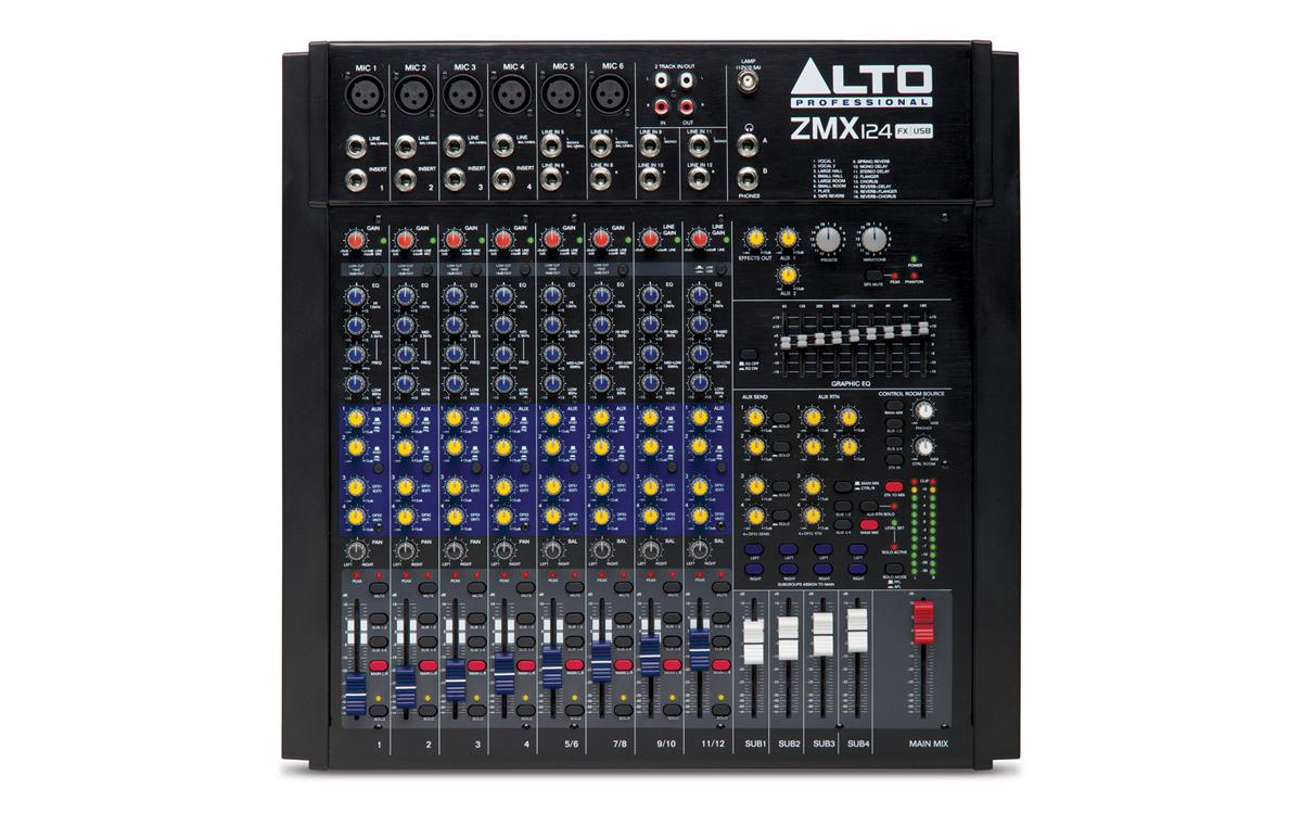 Аналоговый пассивный 12-канальный микшерный пульт Alto ZMX124FXU