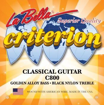 Струны для классических гитар черный нейлон LA BELLA C800